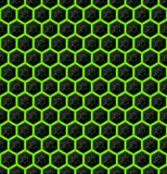 Hexagons of black stone with green streaks of energy. Seamless vector texture. Technology seamless pattern. Vector geometric dark Royalty Free Stock Photography