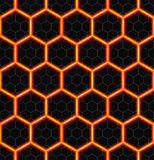 Hexagons of black stone with hot streaks of energy. Seamless vector background. Technology seamless pattern. Stock Images