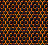 Hexagons of black stone with hot streaks of energy. Seamless vector game texture. Technology seamless pattern. Stock Photo