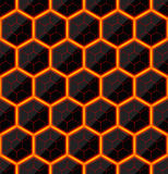 Hexagons of black stone with hot streaks of energy. Seamless vector texture. Technology seamless pattern. Stock Images