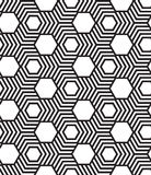 Hexagons, black and white abstract geometric  seamless pat Stock Photos