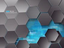Hexagons and blue rectangles Royalty Free Stock Image