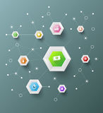 Hexagons connection. Can use for business concept template Royalty Free Stock Images