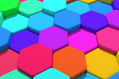 Hexagons. 3d rendering of some colored hexagons Royalty Free Stock Photo