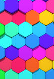 Hexagons. 3d rendering of some colored hexagons Royalty Free Stock Images