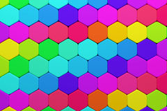 Hexagons. 3d rendering of some colored hexagons Stock Images