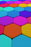 Hexagons. 3d rendering of some colored hexagons Royalty Free Stock Photography