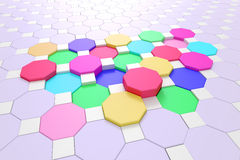 Hexagons. 3d rendering of some colored hexagons Stock Photography