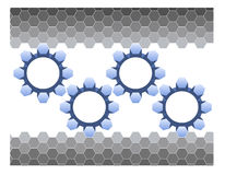 Hexagons and Gears. A hexagonal gray geometric background with four blue gradient gears vector illustration