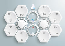 6 Hexagons 4 Gears Infographic. 6 hexagons with 4 gear wheels on the gray background stock illustration