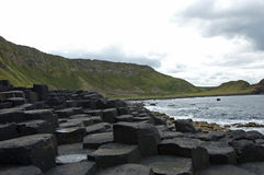 Hexagons in Giant's Causeway. Hexagons rocks in Giant's Causeway in northern Ireland royalty free stock photo