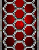 Hexagons Grunge Red and Metal Background Stock Photography