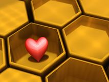 Hexagons and A heart Stock Photography