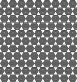 Hexagons in hexagons tiles seamless background. Black and white illusional background pattern Stock Photography