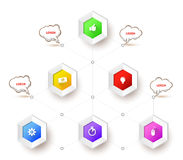 Hexagons with icons Royalty Free Stock Image