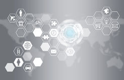 Hexagons with icons and world map Stock Image