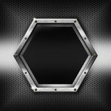Hexagons Metal Template with hexagonal metal frame Stock Photos