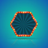 Hexagons retro light banner with light bulbs Royalty Free Stock Photography