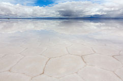 Hexagons of salt in the lake Salar de Uyuni Royalty Free Stock Image