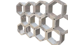 Hexagons structure. 3d rendering of an hexagons structure Royalty Free Stock Image