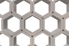 Hexagons structure. 3d rendering of an hexagons structure Royalty Free Stock Photo