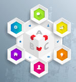 Hexagons  template with icons. Royalty Free Stock Photo