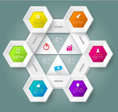 Hexagons  template with icons. Stock Photography
