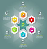 Hexagons  template with icons. Stock Photos