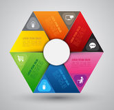 Hexagons template with icons. vector illustration