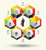 Hexagons  template with icons. Royalty Free Stock Image