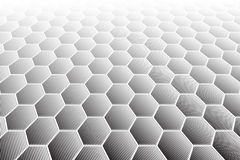 Hexagons tiled textured surface. Perspective view. Stock Images
