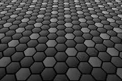 Hexagons tiled textured surface. Perspective view. Stock Photo
