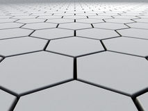 Hexagons to Infinity. A 3D industrial/futuristic background with hexagons stretching to infinity Stock Image