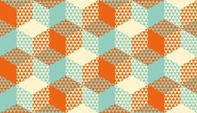 Hexagons and triangles geometric seamless pattern. For background, wrapping paper, fabric, surface design. Vintage colors geometry repeatable motif Royalty Free Illustration