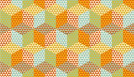Hexagons and triangles geometric seamless pattern. For background, wrapping paper, fabric, surface design. Vintage colors geometry repeatable motif Vector Illustration