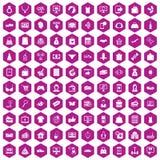 Hexagonveilchen mit 100 on-line-Einkaufsikonen vektor abbildung