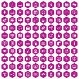 Hexagonveilchen mit 100 on-line-Seminarikonen lizenzfreie abbildung