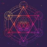 Hexagram con un loto compreso in un cerchio Simbolo multiculturale che rappresenta chakra di anahata nell'yoga e una stella di royalty illustrazione gratis