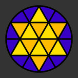 Hexagram leadlight impression. Generated by a black triangle pattern in a circle with yellow and blue color. Rosette window, also Catherine or wheel window Royalty Free Stock Images
