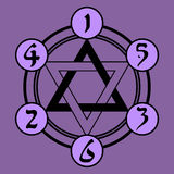 Hexagram with pseudohebrew numbers Royalty Free Stock Image