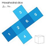 Hexahedral Dice Platonic Solid Template. Hexahedron template, hexahedral dice - one of the five platonic solids - make a 3d item with six sides out of the net Stock Images