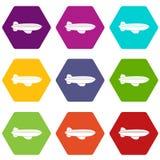Hexahedron цвета значка летания воздушных судн блимпа установленное бесплатная иллюстрация