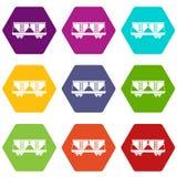 Hexahedron ajustado da cor do ícone do carro de estrada de ferro do frete ilustração do vetor