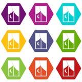 Hexahedron ajustado da cor do ícone noturno da janela ilustração do vetor
