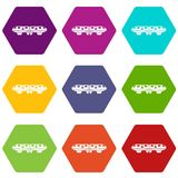 Hexahedron ajustado da cor do ícone do trem do monotrilho ilustração do vetor