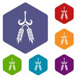 Hexahedron ambrato di vettore delle icone del grano illustrazione di stock