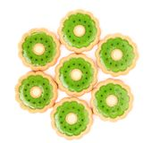 Hexahedron of biscuit with kiwi jam. White background Royalty Free Stock Image