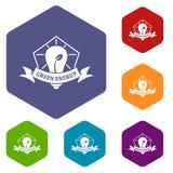 Hexahedron de vecteur d'icônes d'énergie d'eco d'ampoule illustration stock