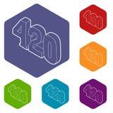 hexahedron del vector de 420 del cáñamo que fuma iconos del tiempo libre illustration