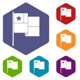 Hexahedron del vector de los iconos de la bandera de Chile ilustración del vector
